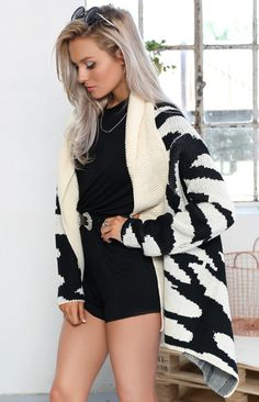 Whimsical Cardi Black And Cream | Beginning Boutique #BBFEST #beginningboutique