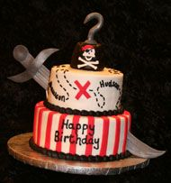 another one with the sword through it plus the addition of the hook that I like.  pirate cake
