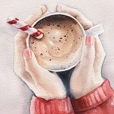 Excited to share the latest addition to my #etsy shop: Original watercolor painting Winter mood Christmas mood Coffee watercolor illustration Candy New Year girl with cup of coffee