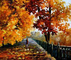 """Blues de caer hojas — Paleta cuchillo otoño Casa Decor óleo sobre lienzo por Leonid Afremov. Tamaño: 36 """"X 30"""" pulgadas (90 cm x 75 cm)"""