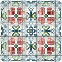 Creative Workshops from Hetti: SAL Delfts Blauwe Tegels,Deel 2 - SAL Delft Blue Tiles, Part Expanded Tile 2 (version Cross Stitch Borders, Cross Stitch Kits, Cross Stitch Designs, Cross Stitching, Cross Stitch Embroidery, Cross Stitch Patterns, Plastic Canvas Coasters, Plastic Canvas Patterns, Delft