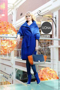 Купить Длинное теплое пальто, ультрамарин - тёмно-синий, однотонный, пальто, пальто женское