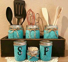 Check out this item in my Etsy shop https://www.etsy.com/listing/530508353/planter-box-mason-jar-kitchen-set