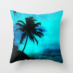 Tropical silhouette pillow palm tree pillow by NewCreatioNZ