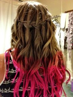 I Love the combination of waterfall braid and pink tips:)