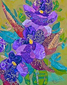Violets - collage of hand painted papers on wood panel by Elizabeth St. Hilaire Nelson.