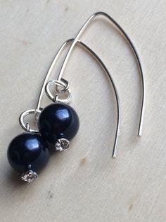 Swarovski Night Blue Pearl Earrings Sterling Silver by MadeByMissM
