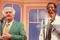 American comedian Bill Cosby appears on the children's TV series, 'Captain Kangaroo,' with host Robert (Bob) Keeshan (Captain Kangaroo) (1927 - 2004), circa 1970.
