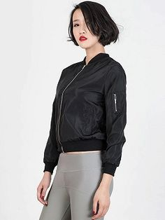 Black Zipper Detail Long Sleeve Bomber Jacket   Choies