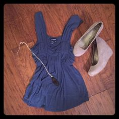 Steel blue flowy tank Pretty steal blue tank with a flowy cut and Grecian detailing at bust. Soft rayon fabric that skims off the body and is so flattering. EUC, worn only a few times. Max Edition Tops Tank Tops