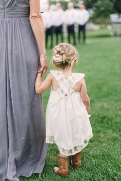 lace flower girl dresses with cowboy boots - Google Search