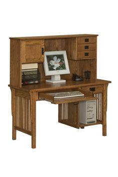 Amish Arts & Crafts Computer Desk with Hutch Top