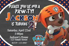 Paw Patrol Zuma Invitation Birthday Party Zuma by DazzelPrintz