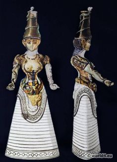 """Ancient Minoan Costume. Faience Figure of Snake Goddess """"this figure appears to be wearing:"""""""