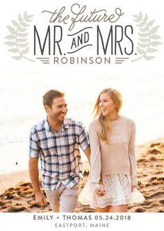 """""""Mr. & Mrs."""" - Customizable Save The Date Postcards in Beige by Jessie Steury"""