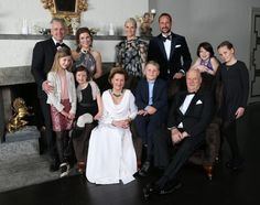 Family photo of the Norwegian Royal family, taken on the occasion of King Harald's 25th throne anniversary: (L-R) Ari Behn, Princess Märtha Louise, Leah Isadora Behn, Emma Tallulah Behn, Queen Sonja, prince Sverre Magnus, King Harald, Crown Princess Mette Marit, Crown Prince Haakon, Maud Angelica Behn and Princess Ingrid Alexandra at the crown prince couple´s residence at Skaugum.