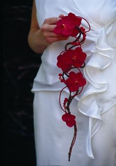 Orchid & Bark Covered Wire w/ Beading Drop Bouquet - Moniek Vanden Berghe