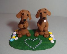 Dachshund dogs polymer clay by Laurie Valko, via Flickr