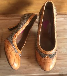 Key Té By Kallisté Made In Italy Brown And Orange Pumps Heels Size 9 Euro 40  | eBay