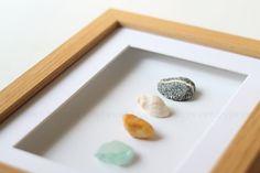 Fundstücke im Bilderrahmen Steine Muscheln
