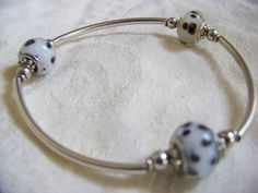 Murano Glass Black Polka Dot on White Glass Beads by Julanns
