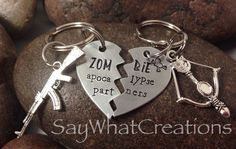 Zombie Apocalypse Partners SET OF TWO Half Heart Key Chains by SayWhatCreations on Etsy