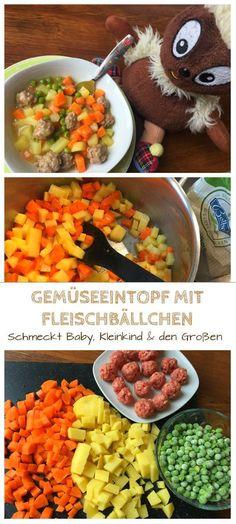 Kinder lieben Eintöpfe. Dieses Rezept für Gemüseeintopf mit Fleischbällchen aus Hackfleisch ist eines unserer liebsten Kinderrezepte, das buntes Gemüse und Kartoffeln enthält: http://www.breirezept.de/rezept_gemueseeintopf_mit_fleischbaellchen.html