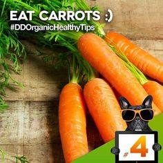 TIP #4: EAT CARROTS  Carrots are now the #nutritionist favorite, thanks to their high vitamin A content. Only one half cup has almost double the amount you need for healthy eyes.  #healthy#healthier#healthytips#organic#happy#happiness#body#mind#healthybody#happier#thursday#saturday#organicfood#organicbeverages#darkdog#darkdogorganic#food#exercise#vegetarian#vegan#thursday