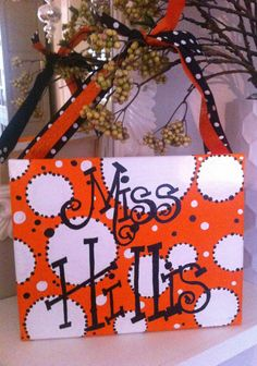 Orange, White and Black Teacher Or Bedroom Door Sign. 11x14 Stretched Canvas with Ribbon Hanger. Personalized as you wish...