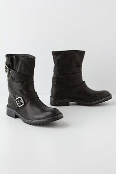 Buckle-Wrapped Moto Boots - I need to have these Tall Boots, Shoe Boots, Shoe Bag, Black Biker Boots, Biker Girl, Biker Chick, Boot Shop, Handbag Accessories, Fashion Boots