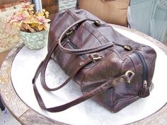Leather Bag duffle luggage overnight bag in by GreenMarketVintage