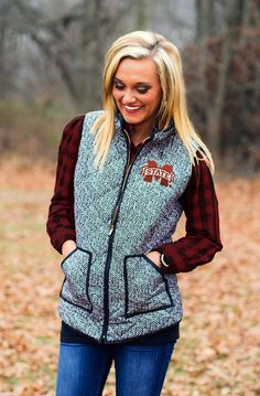 MISSISSIPPI STATE HERRINGBONE QUILTED PUFFER VEST