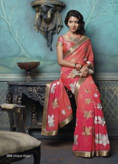 Carrot red Chiffon Material saree with Golden Border