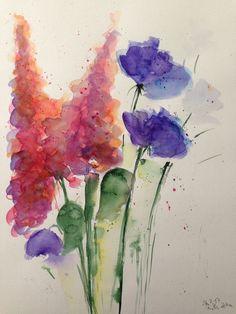 Aquarell Bild Blumen  Blumen in der Vase Blumenstrauß Kunst watercolour Flowers