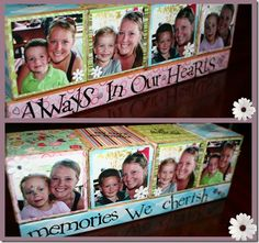 pictures on wood blocks  {could do a block for each kid/spouse, put photos on all 6 sides to change up}