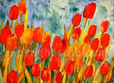 """Floral Painting, Watercolor Canvas Painting Red and orange Tulip Art 18x24"""", tangerine tango. $278.00, via Etsy."""
