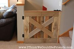 Palette Wood Baby & Pet Gate We love the character that this gate adds to our house. Plus, it's functional and only took 3 hours to make from FREE palette wood!.