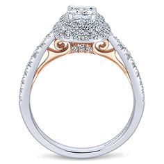 Gabriel & Co. - 14k White/pink Gold Cushion Cut Halo Engagement Ring.
