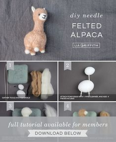 How to Make This Cute Needle Felted Alpaca - Lia Griffith If you've been wanting to craft your own alpaca, you're in luck! Today we're showing you how to make your own needle felted alpaca in just 7 steps. Needle Felted Ornaments, Felted Wool Crafts, Felt Ornaments, Alpacas, Easy Felt Crafts, Felt Animal Patterns, Needle Felting Tutorials, Do It Yourself Fashion, Felt Fairy