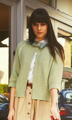 Free knitting pattern for Bow Jacket by Debbie Bliss. Cardigan sweater with elbow length sleeves with bow closure. To fit bust (inches): 32, 34, 36, 38, 40, 42, 44 and 46. affiliate link tba