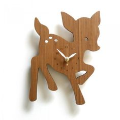 This delightful new fawn clock measures 7.5' x 10' and is complete with laser cut numbers. Bamboo is treated with natural oil and about 1/4' thick.    Perfect for bedroom or nursery as the clock motor does not make a ticking sound.     Motor requires only 1 AA Battery.