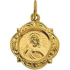 14kt Yellow Gold 12.14x12.09mm Sacred Heart of Jesus Medal | 1.14 Grams | Jewelry Series: R16987
