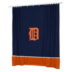 Detroit Tigers Fabric Shower Curtain-Summertime Bathroom makeover:)