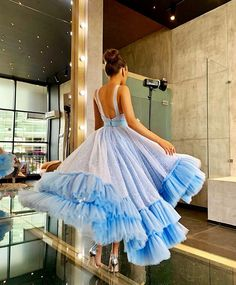 Find Short Prom Dresses For Sweet High School Prom, Graduation or Wedding Party? Come Here to Buy Sparkly Light Blue Bateau Ball Gown Short Backless Prom Dress that speaks to you and your unique personality. Blue Tea Dresses, Pretty Dresses, Beautiful Dresses, Short Dresses, Backless Prom Dresses, Homecoming Dresses, 10 Years Girl Dress, Wedding Dress Bustle, Dream Dress