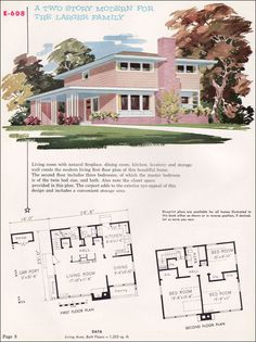 Mid Century Modern House Plans | 1955 National Plan Service - Plan No. E-608 - Midcentury Modern ...