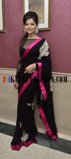 http://www.kalkifashion.com/ Rubina Dilaik in black stunning saree at Ravi Dubey and Sargun Mehta's reception bash.