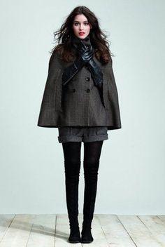 scarf, cape, tights, shorts, winter, fashion