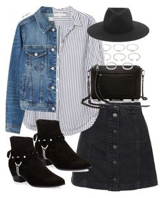 """Outfit with a denim jacket and striped shirt"" by ferned on Polyvore featuring Topshop, Xirena, MANGO, Rebecca Minkoff, Yves Saint Laurent, Forever 21 and rag & bone"