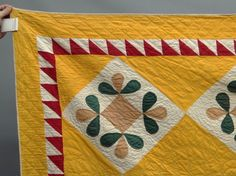 """Detail, 19th c. floral applique quilt with sawtooth border. 90"""" Square, Copake Auction, Live Auctioneers"""