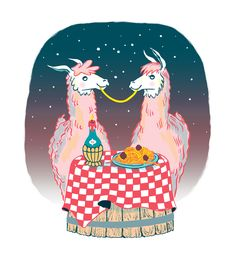 """A line of greeting cards featuring a collection of lovable llamas. Cards are 5.5"""" x 4.25"""". Risograph printed in 3 colors. Blank insides. Editions vary. Top to bottom: Llamas in Love; Llama's Birthday Surprise; Llama's Beach Getaway."""